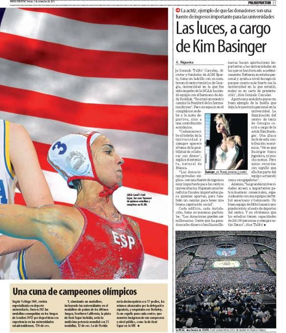 Reportaje sobre becas deportivas en Estados Unidos de El Mundo Deportivo