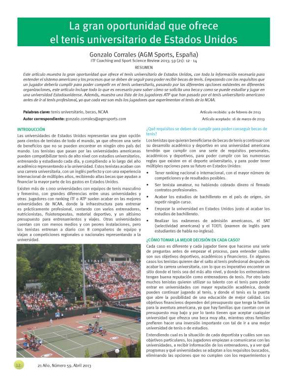 International Tennis Federation becas de tenis en USA