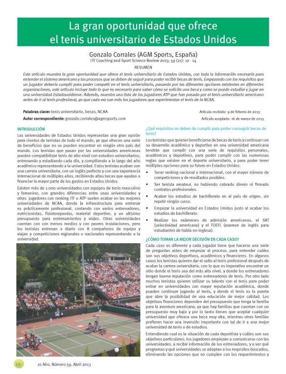 International Tennis Federation becas de tenis en USA